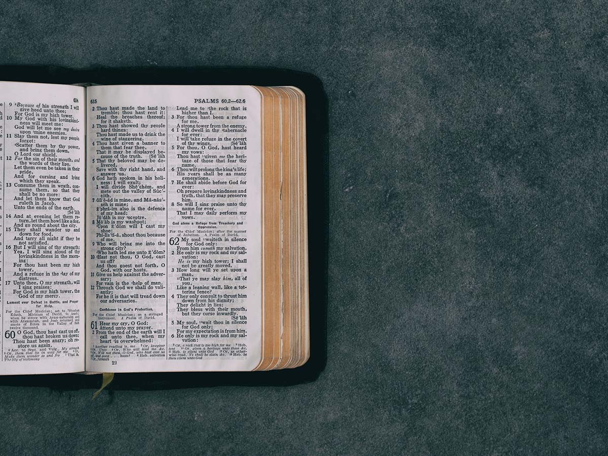 Picture of an opened Bible on a green gray background.